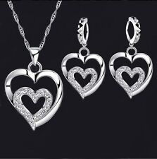 Women's Sterling Silver CZ Double Love Heart Necklace & Earring Jewellery Set UK