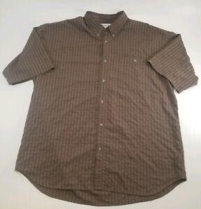 Columbia GRT Brown Plaid Short Sleeve Button Down Shirt Men's Sz 2XL
