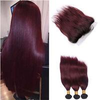 1 B/99J Racine vierges brésiliens ombre cheveux 3bundles + FRONTAUX Jour Même