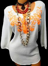 MAURICES PEARL neon orange FLORAL EMBROIDERED CRINKLED TIE UP PEASANT TOP 0, XL