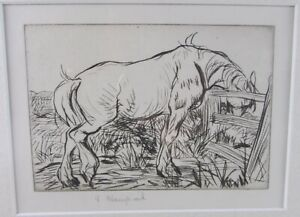 EDMUND BLAMPIED AT THE GATE ETCHING 1914 ED. 64 PRINT Pencil Signed Horse