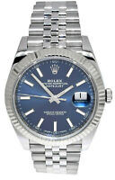 Rolex Datejust 41 Steel & 18k White Gold Blue Dial Watch & Box Papers 126334