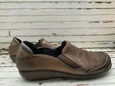 Naot Moana Brown Gold Distressed Leather Slip On Shoes Loafers Size 42