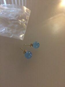 Earrings- 14k Jade Bead Blue