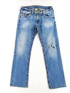 True Religion 33 Jeans Classic Heavy Stitching Denim Distressed Straight Leg