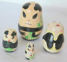 Vintage Set of Panda Themed Nesting Russian Dolls