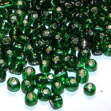 SB105L Dark Emerald Green Silver Lined 6/0 (4mm) Glass Seed Beads 1 ounce
