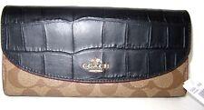 Coach Signature Slim Envelope Wallet Exotic Mix Khaki & Black F24354 NWT $275