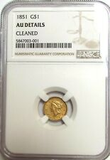 1851 $1 Gold Liberty Dollar NGC AU Cleaned