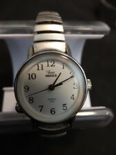 Used Timex Easy Reader Expansion Band Watch Silver-Tone/White Ladies INDIGLO
