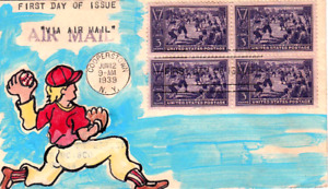 855 FDC BLOCK HAND PAINTED Cachet One-of-a-Kind 1939 Baseball Centennial 3c