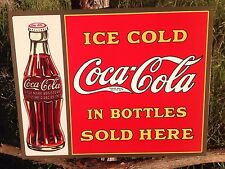 COKE Coca Cola Sign Tin Vintage Garage Bar Decor Old Ice Cold Bottles Sold Here