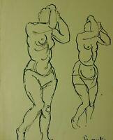 """Edvard Frank """"Zwei weibliche Akte"""" Federzeichnung, signiert, Nachlass"""