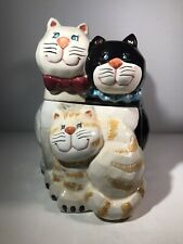"""VINTAGE BICO-CHINA THREE 3 LITTLE KITTENS CATS 9.5"""" COOKIE JAR PORCELAIN"""