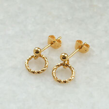 Small Gold Open Circle Stud Earrings - Minimalist Drop Twisted Ring - UK