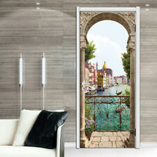 3D Balcony Italy Riverside Self-adhesive Bedroom Door Sticker Murals Wallpaper