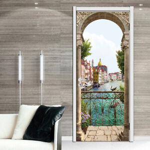 3D Balcony Italy Riverside Self-adhesive Bedroom Door Sticker Murals Wallpaper
