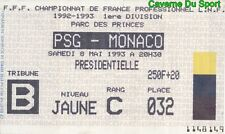TICKET MATCH PARIS SAINT-GERMAIN PSG Vs AS.MONACO 1-0 D1 # 08-05-1993