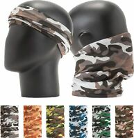 (6 Pack) Camouflage Reusable Face Mask Bandana Shield Headband Neck Gaiter Scarf