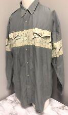 Roper Shirt Spurs Barbwire Sage Green 2XL Cowboy Western Button Shirt