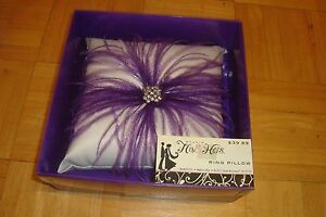 His & Hers Studio: RING Pillow With Feathers-Rhinestones / Purple-Violet