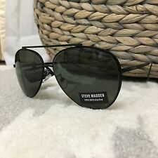 NEW Steve Madden Double Aviator Womens Sunglasses Black Metal Wire SM472164