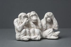 """""""Drei Affen"""", Skulptur, kein Gips, Dekoration, Deko, Kunst #003"""