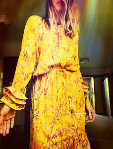 JOHANNA ORTIZ X H&M Womens Yellow Maxi Dress Brand NEW Size M