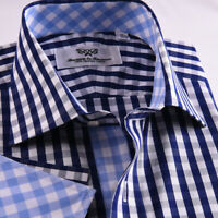 Classic Blue Check Formal Business Dress Shirt French Double Cuffs Inner Lining