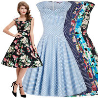 Belle Poque 50s 60s Vintage Floral Swing Housewife Party Cocktail Evening Dress