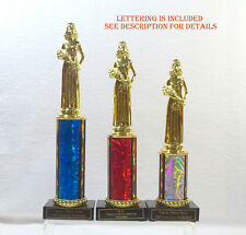 BEAUTY PAGEANT TROPHIES, SET OF 3 RED/WHITE/BLUE