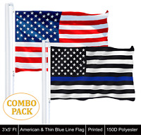 3'x5' USA America Flag 150D Polyester & 3'x5' Thin Blue Line Flag 150D