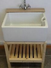 Wooden Stand With Hardwood Tap Ledge - Ideal Belfast Sink Utility Or Kitchen