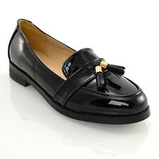 Womens Loafers Flat Black Tassel Ladies Casual Work School Shoes PUMPS Size 3-8 UK 4 / EU 37 / US 6 Nude Patent