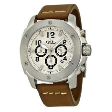 FOSSIL MACHINE CHRONOGRAPH WHITE DIAL BROWN LEATHER STRAP MEN'S WATCH FS4929 NEW