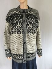 Vintage Ice Star M/L Pure Wool Cardigan Nordic Birdseye Iceland Fair Isle