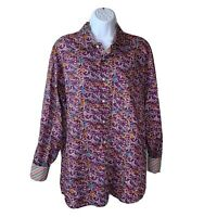 Alan Flusser Mens Shirt Size Large Purple Blue Yellow Paisley Print Button Down