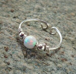 Toe,Midi,Knucle White Fire Opal Ring 925 Sterling Silver