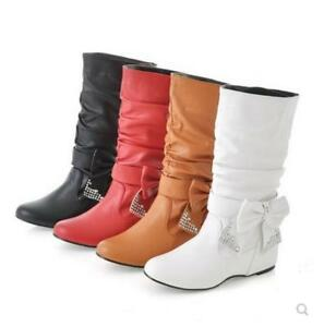 Womens Slouchy Detachable Bow Tie Diamante Mid Calf Boots Causal Shoes Plus Size