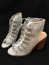 Womens Lace Up Peep Toe Boots Booties Perforated Size 9