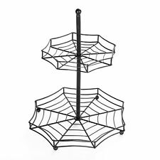 Halloween Spider Web 2-Tier Serving Tray - Spooky Tabletop Accent