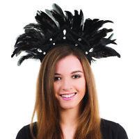 Black Feather Carnival Headdress - Brazilian Burlesque Headband Fancy Dress