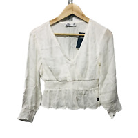 Hollister Girls White Woven Fabric Wrap Front Peplum Top Size S New RRP £29