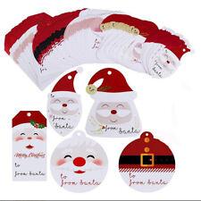 50Pcs Christmas Tags DIY Santa Claus Hanging Xmas Party Gifts Wrapping Labels