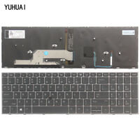 New For HP  Zbook 15U G5 Keyboard Silver Frame Backlit US