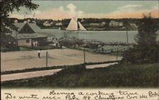 Christmas Cove ME Tennis Courts & Sailboat c1910 Postcard