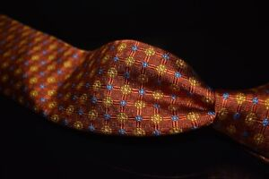 Robert Talbott Hand Sewn Toasted Orange Woven Grid Floret Intersect Silk Tie NR