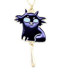 Collana ciondolo gatto smaltato nero