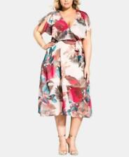 $119 City Chic Trendy Plus Size Split-Sleeve Capelet Fit & Flare Dress Size 16W