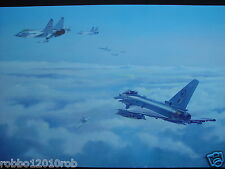 """Typhoon, 6 Sqn RAF / Russian Foxhounds, over the Baltic  Oil/canvas 20""""x30"""""""